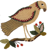 Hand embroidered falcon by JHA Designs